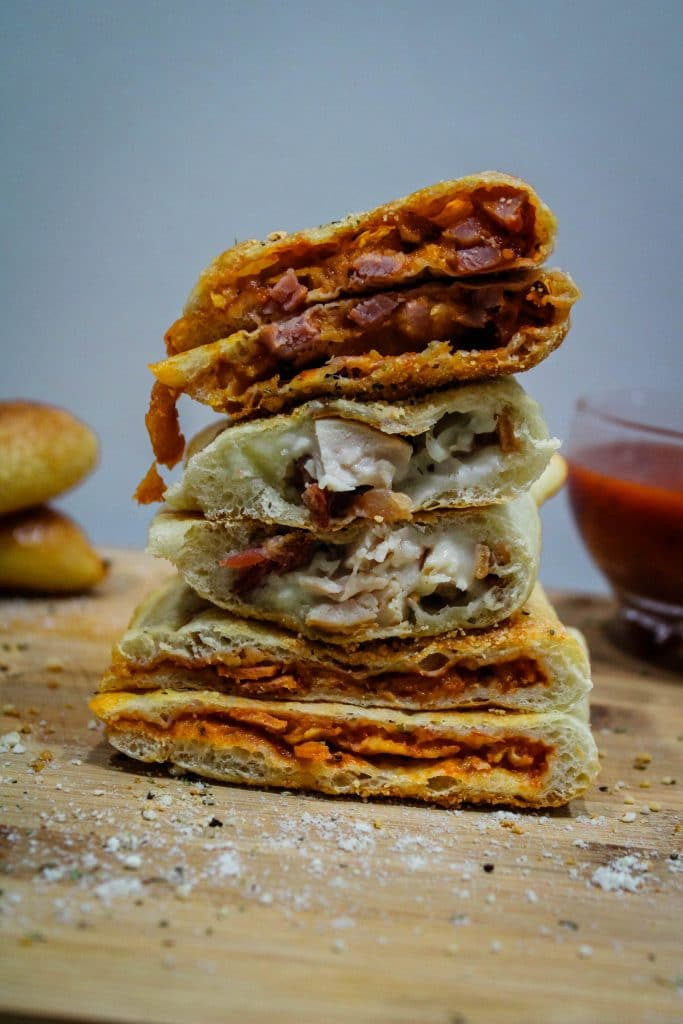 stacked and sliced calzones