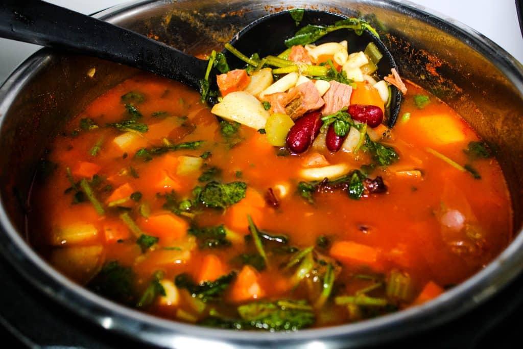 Pot of Instant Pot Portuguese bean soup