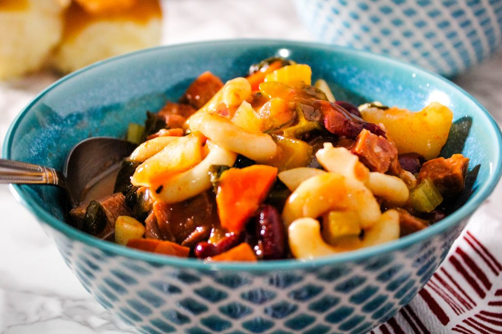 close up of Instant Pot Portuguese bean soup
