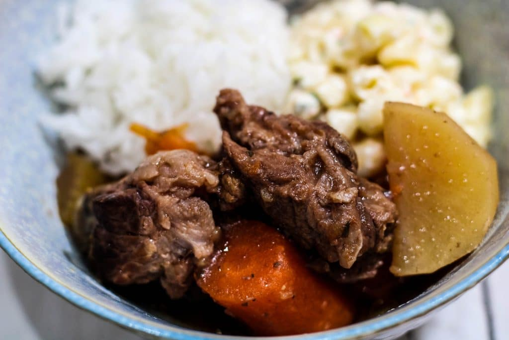 close up Crock Pot beef stew