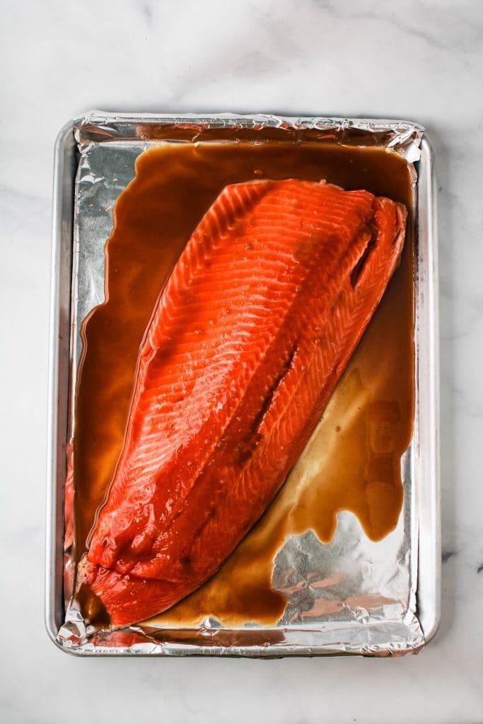 miso glazed salmon on a sheetpan