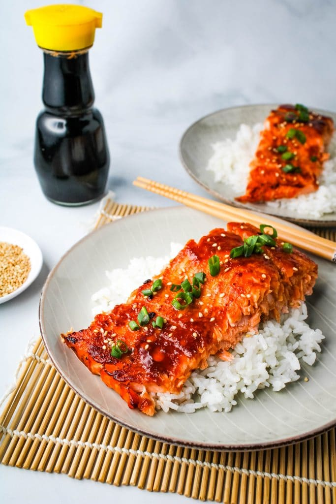 miso glazed salmon on rice