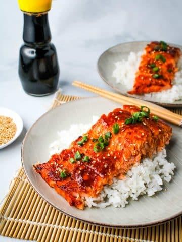 miso glazed salmon on rice