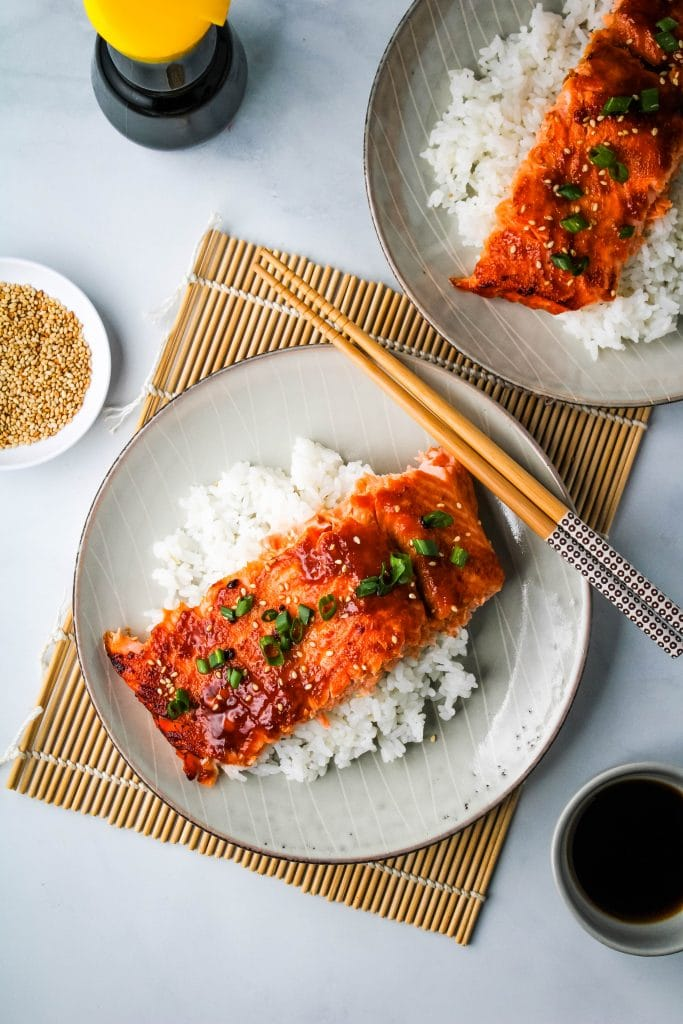 miso glazed salmon on a gray plate