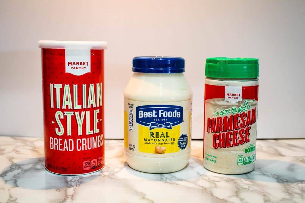 ingredients: italian style bread crumbs, mayo, parmesan cheese
