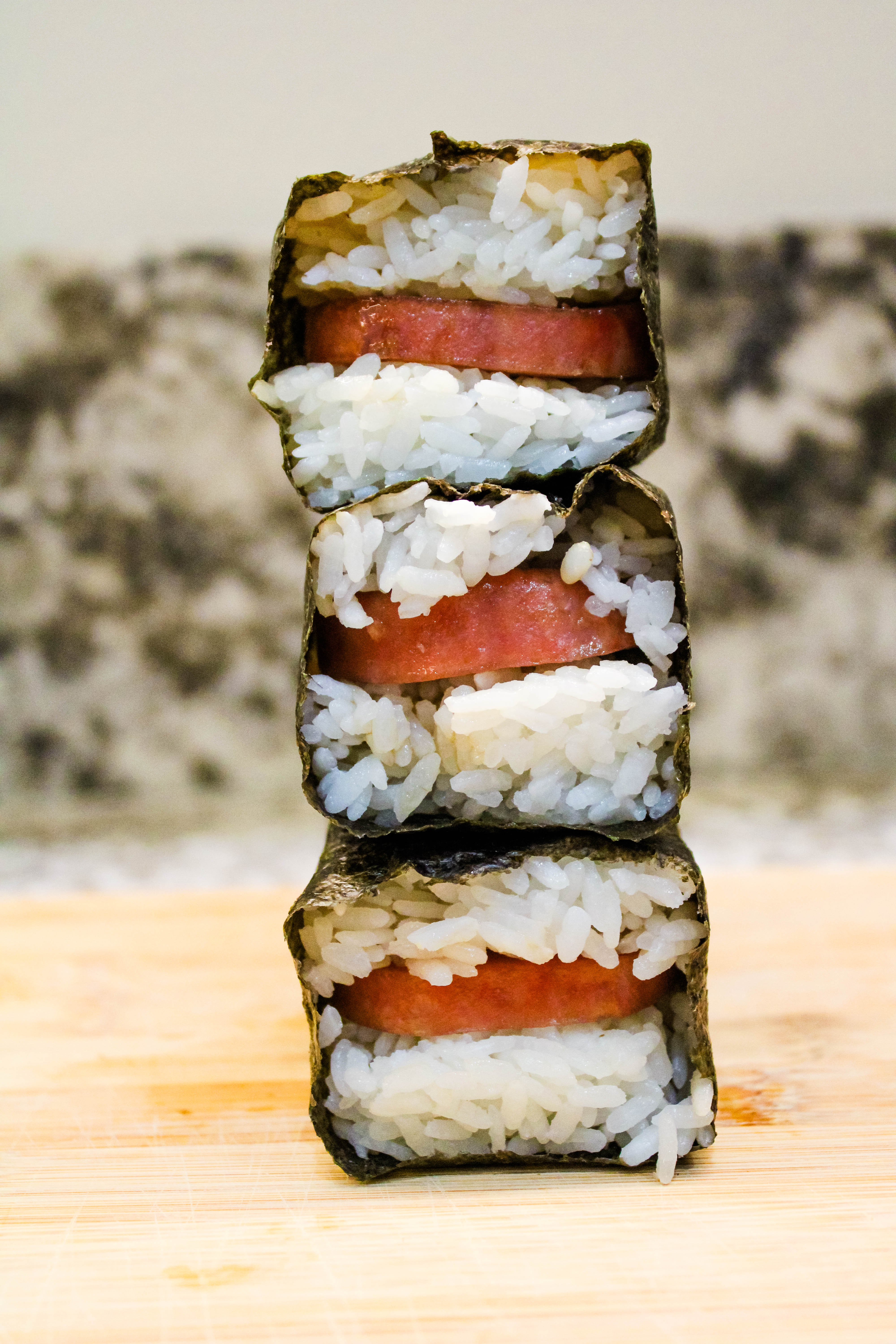 stacked spam musubis