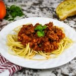 plated red sauce noodle dish