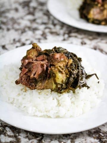 laulau on a plate of rice