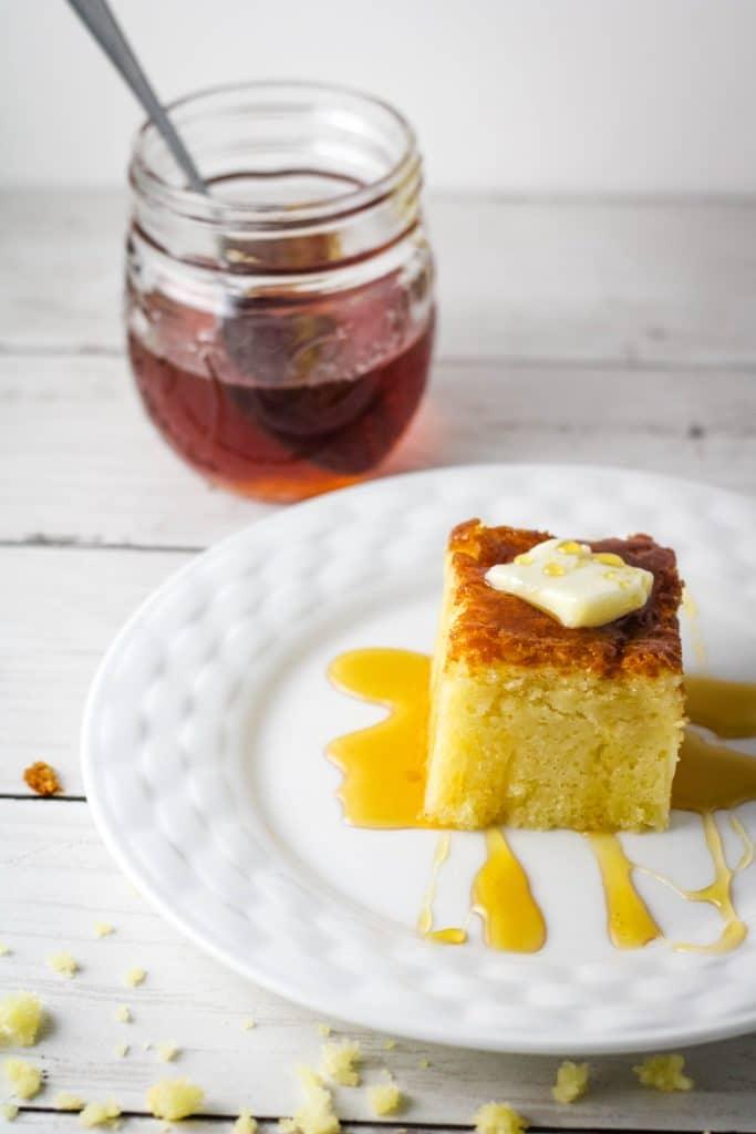 single slice cornbread with honey