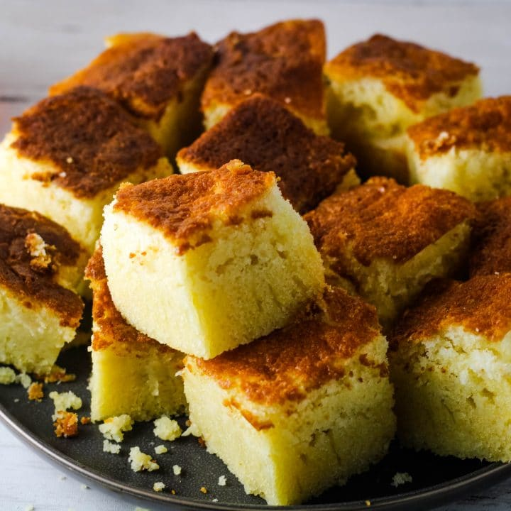 cornbread on a plate top view