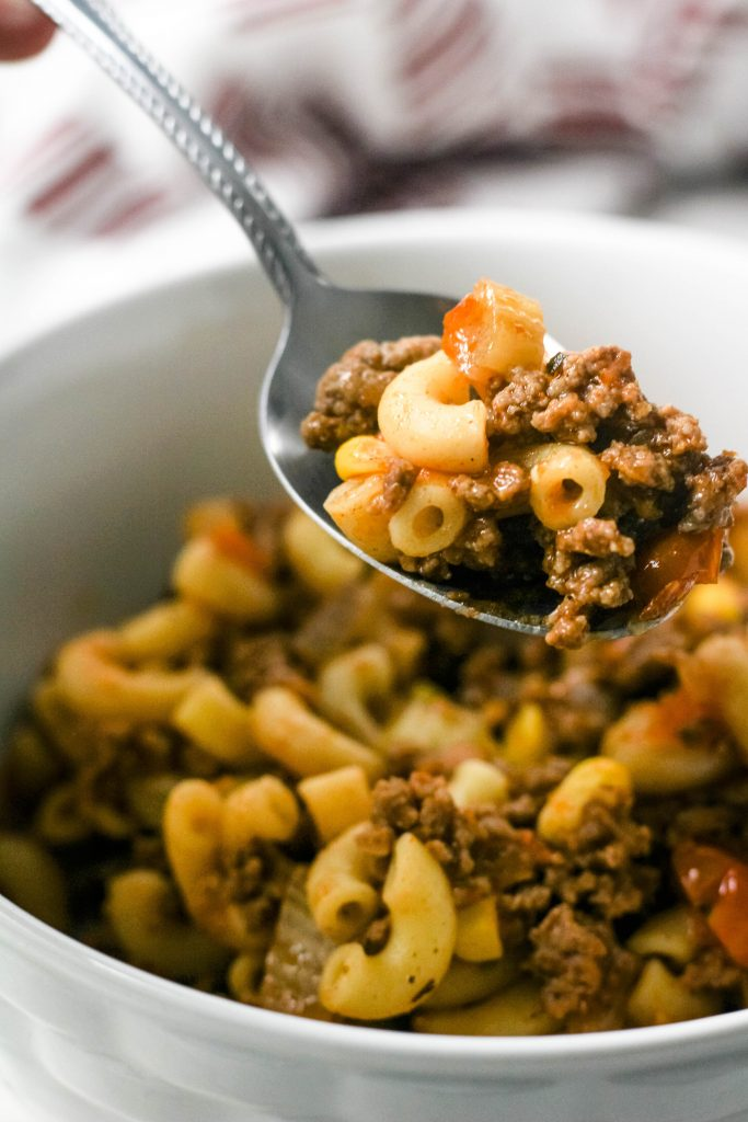 close up of Instant Pot goulash spoonful