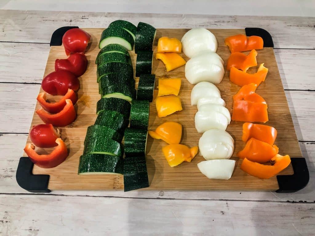 cubed veggies on a cutting board