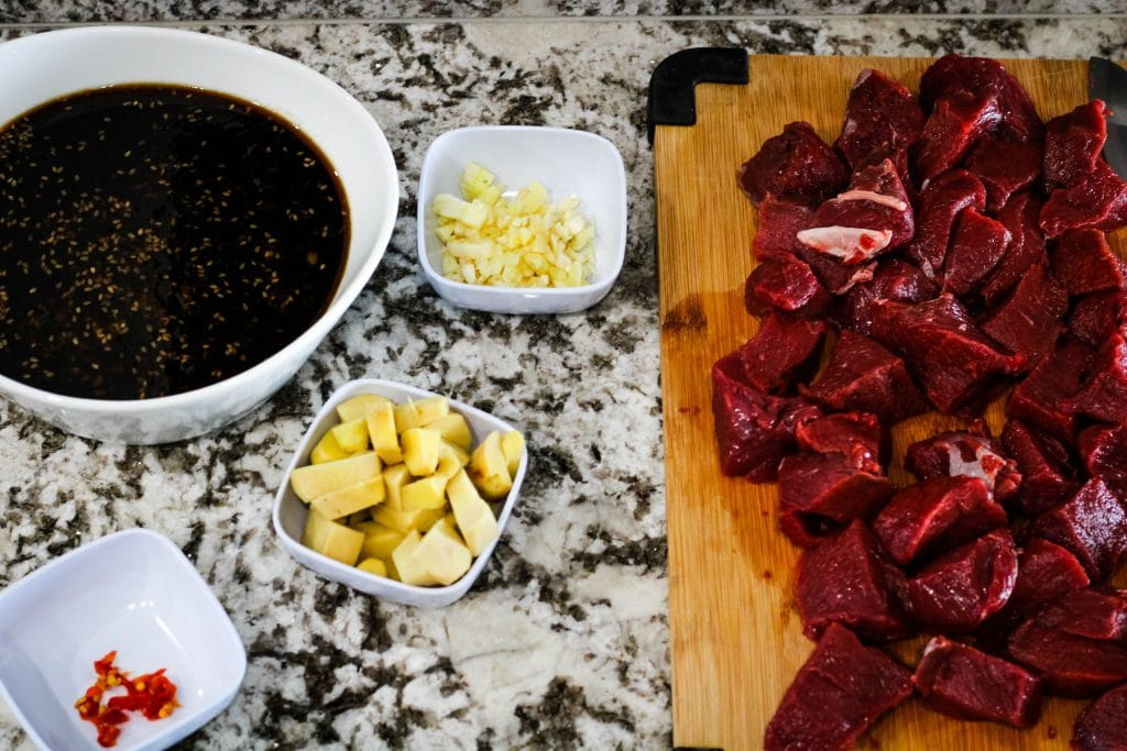 cubed up venison with marinade