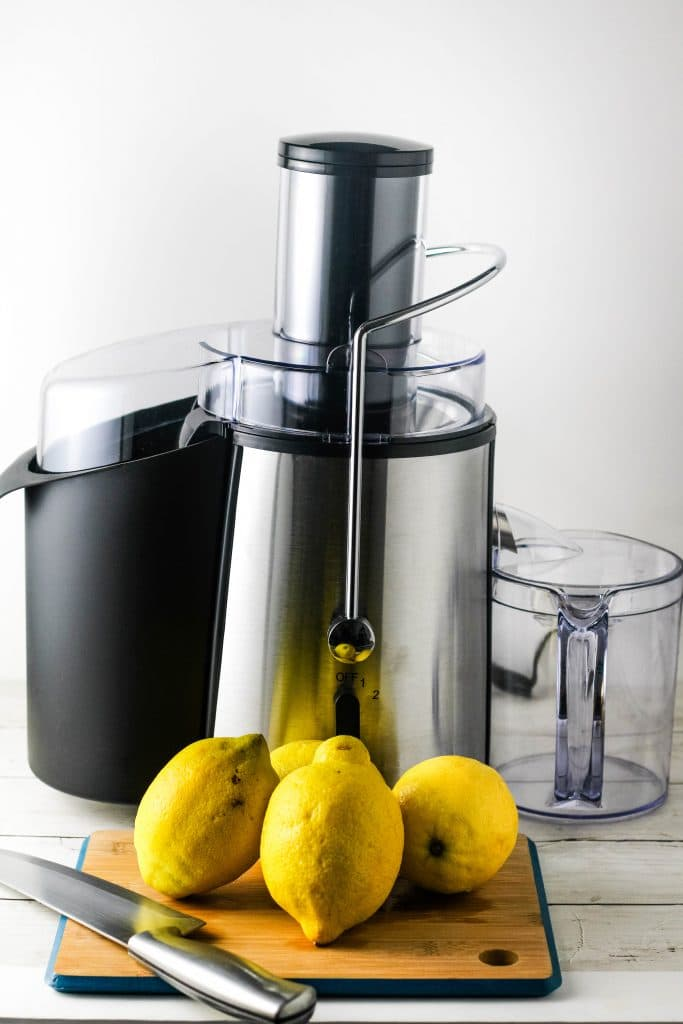 lemons with an electric juicer
