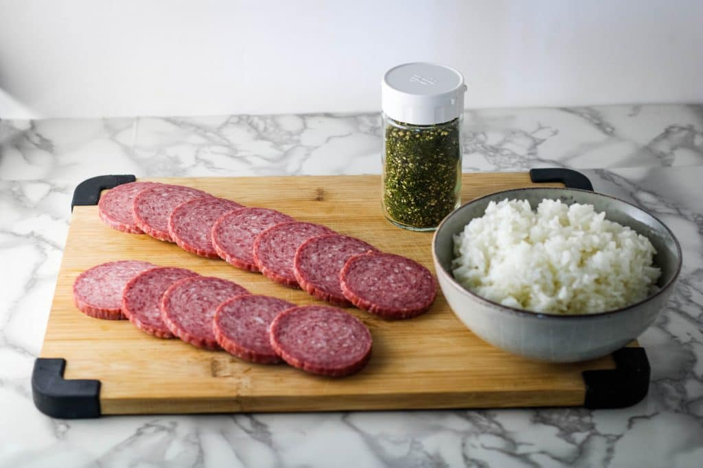Goteborg sausage musubi ingredients