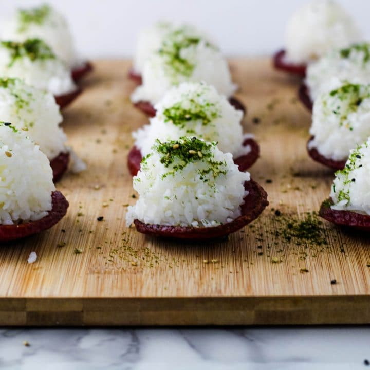 front view of musubis on a cutting board
