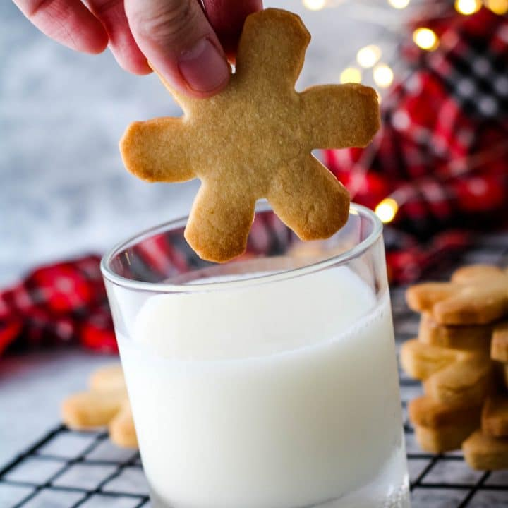 caramel cookie dipped in milk