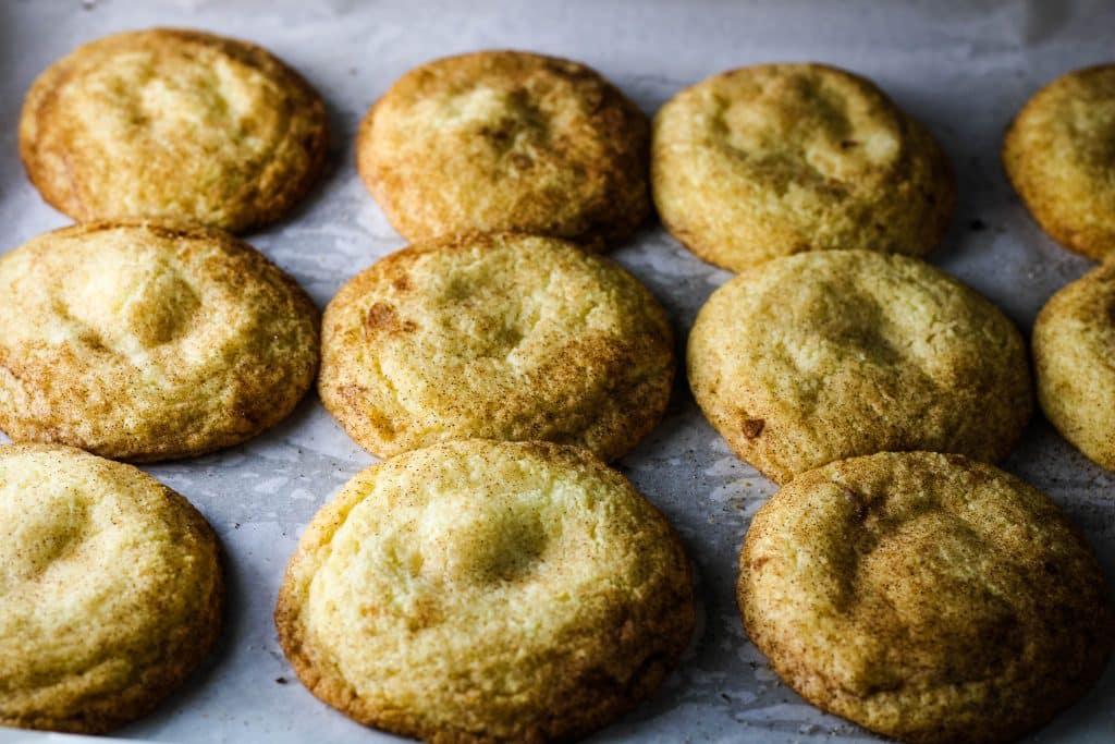 pan of cheesecake stuffed snickerdoodle cookies
