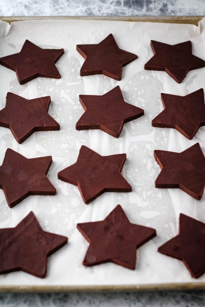 cut chocolate sugar cookie dough