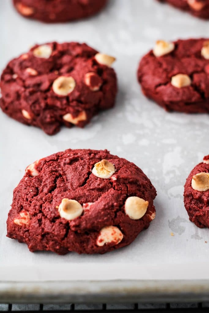 red velvet cookies on a baking tray