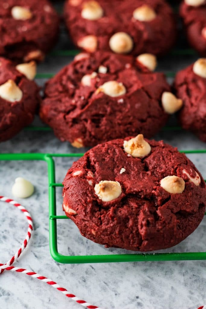 close up of red velvet cookies