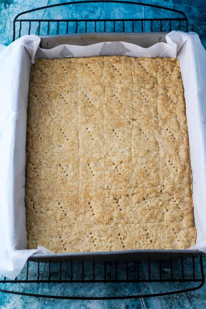 pan of short bread cookies