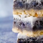 close up sweet potato haupia pie bars