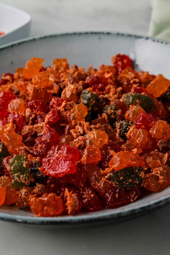 li hing mui lemon peel gummy bears in a bowl
