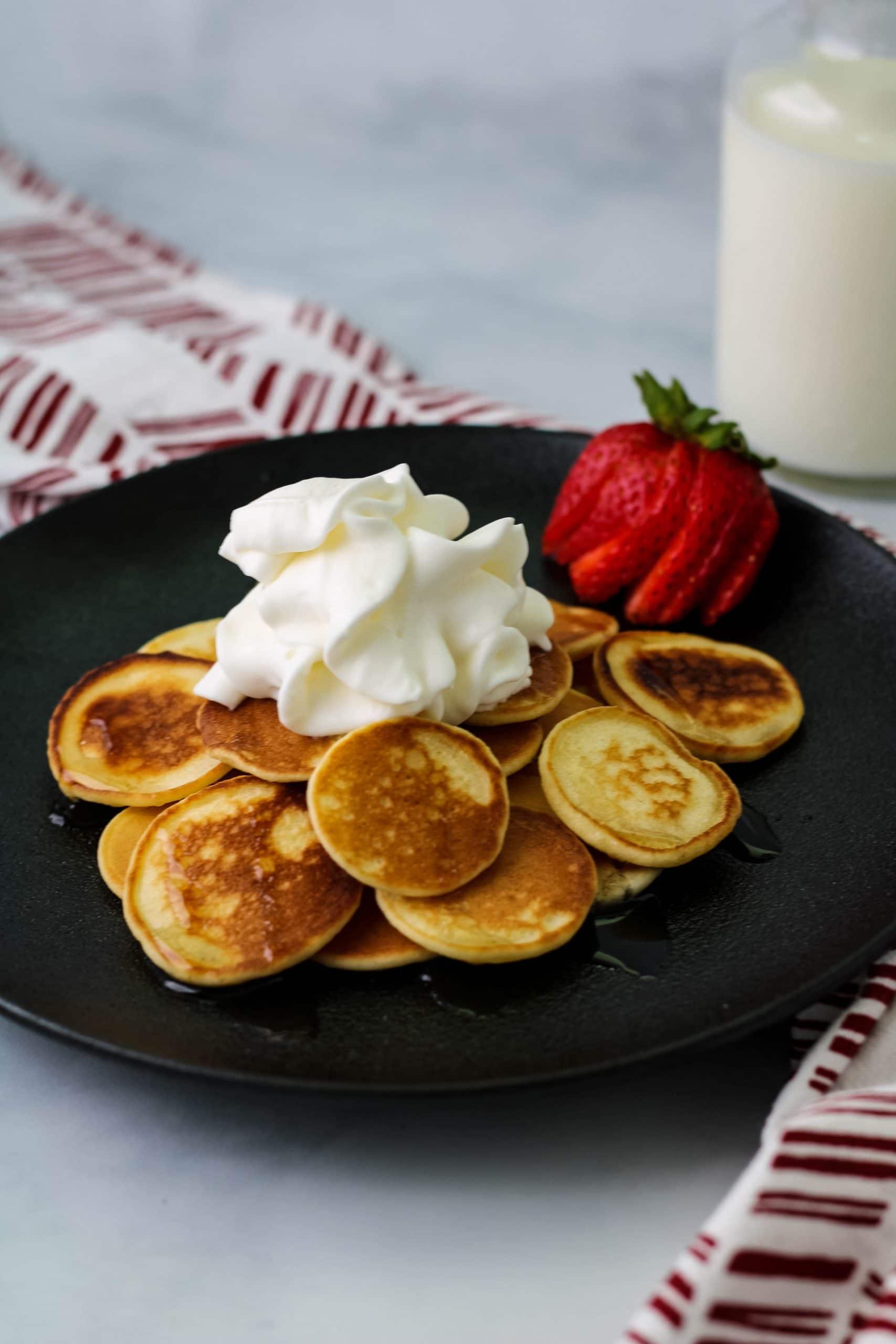 plate of mini mochi pancakes