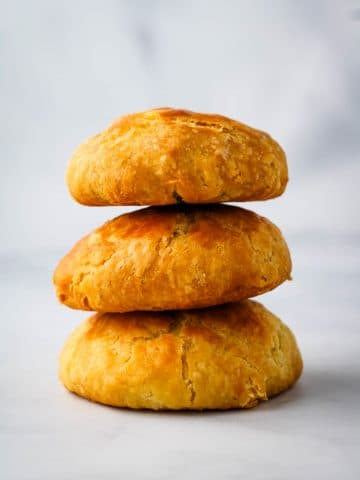 3 stacked sweet potato manju