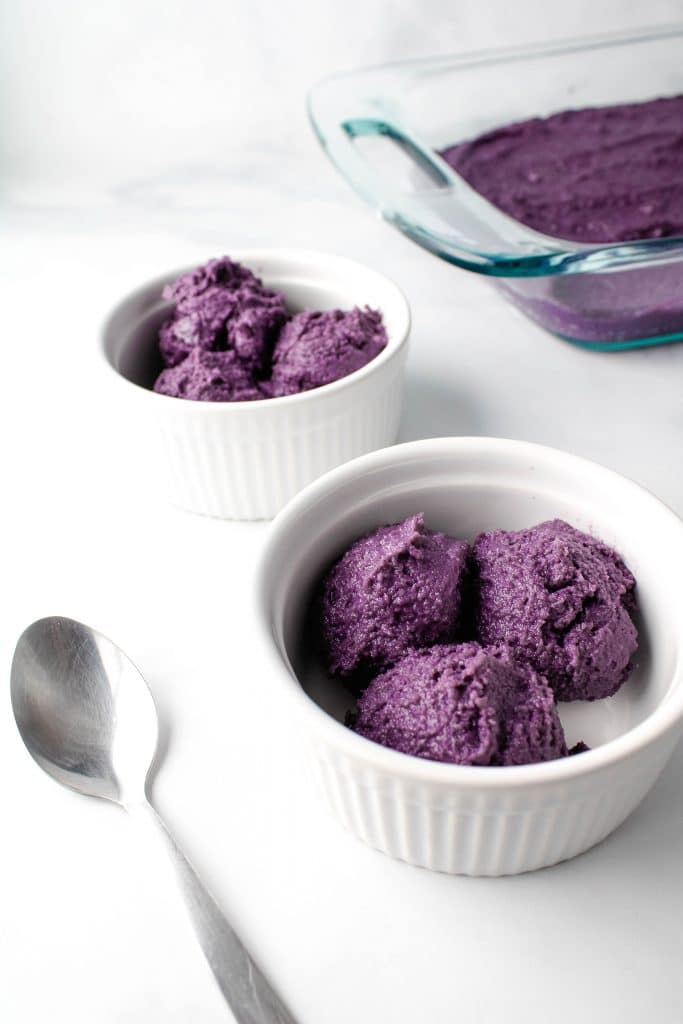 scoops of ube halaya in a bowl