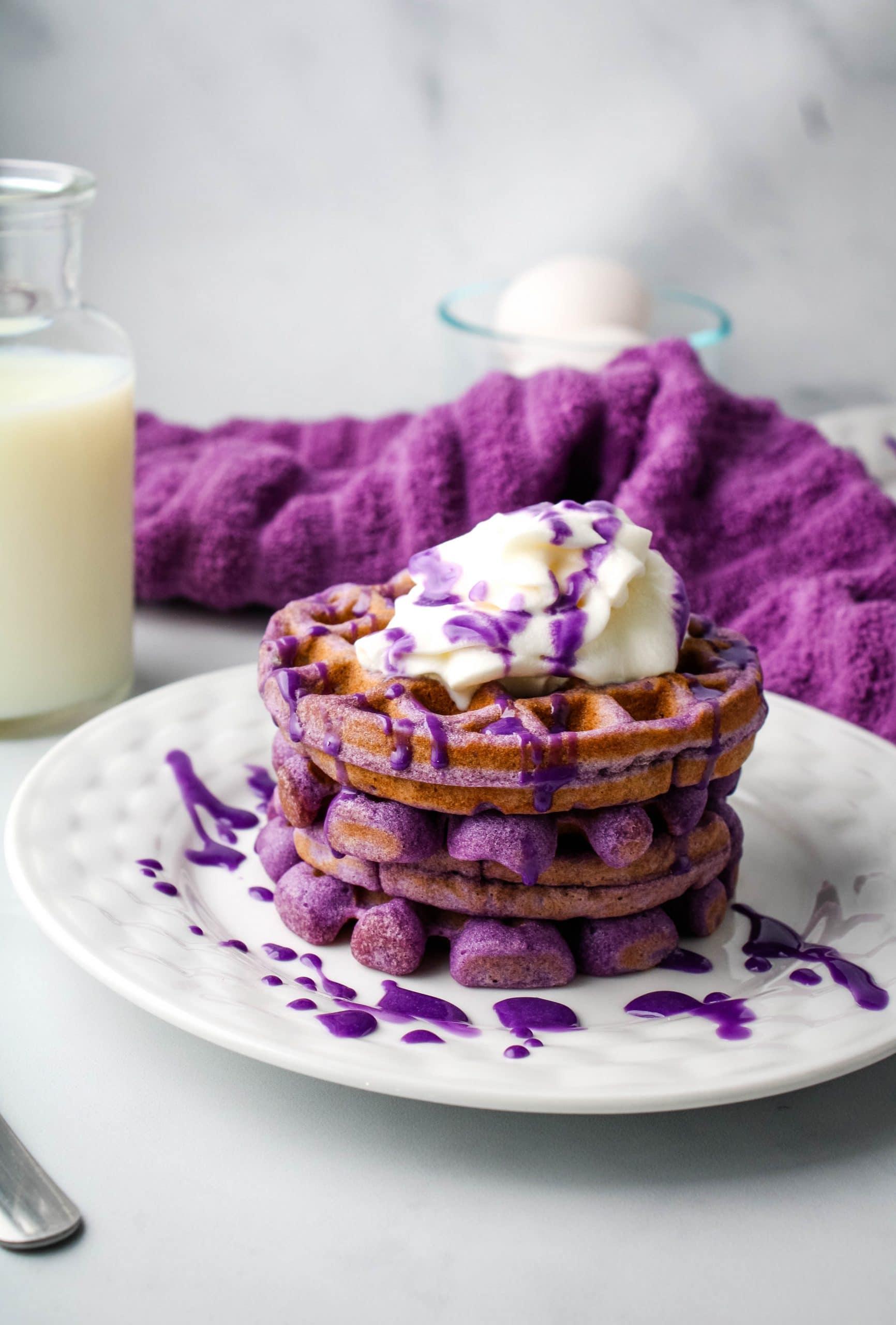 ube mochi waffles