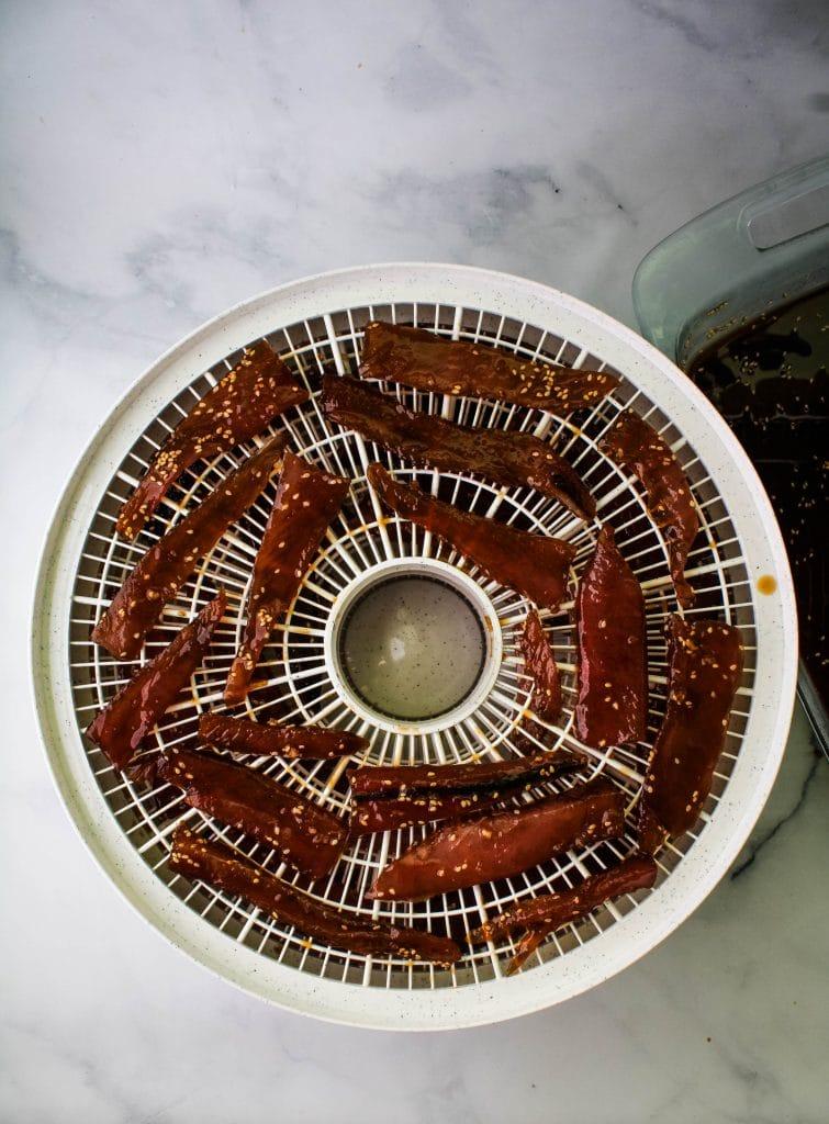 sakura boshi on the rack of a dehydrator