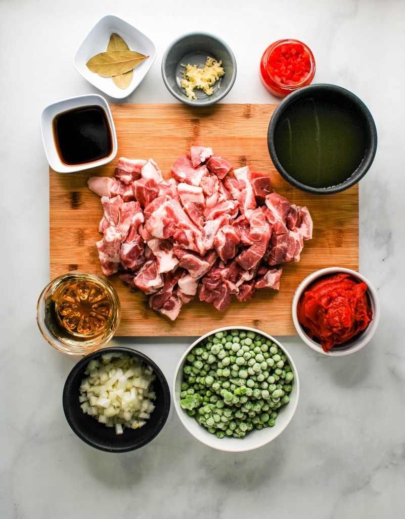 instant pot pork and peas ingredients