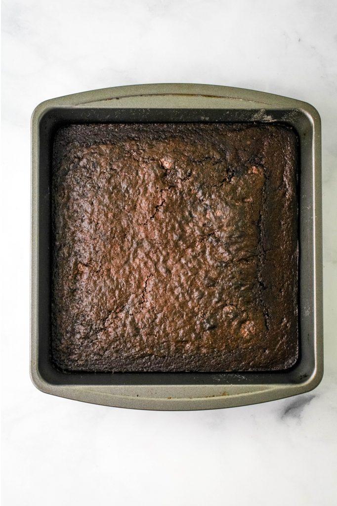 mochi brownies in a baking pan