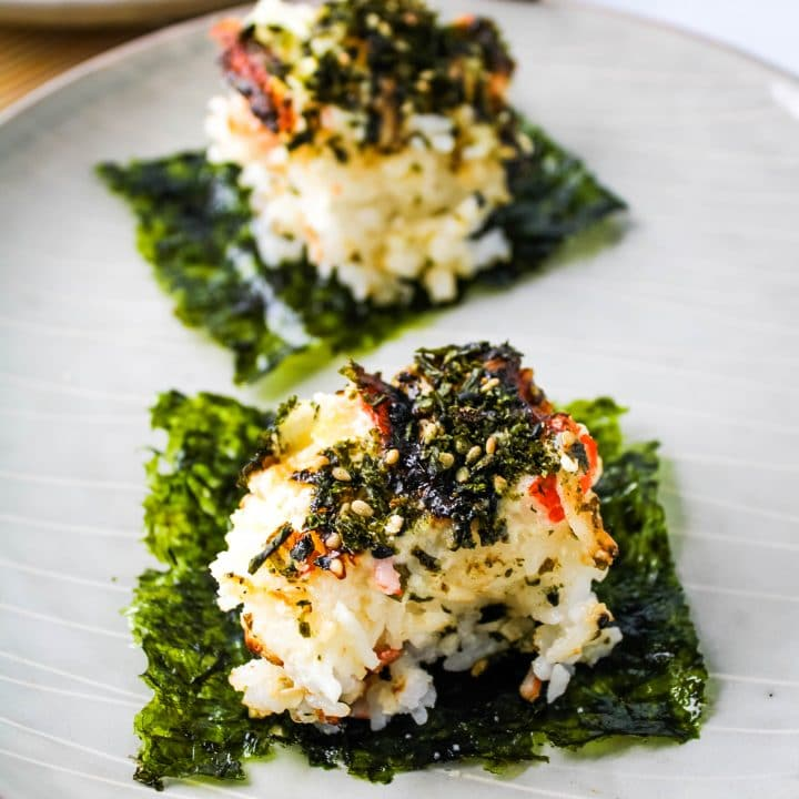 sushi bake on a gray plate