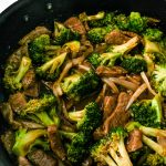 pan of beef and broccoli