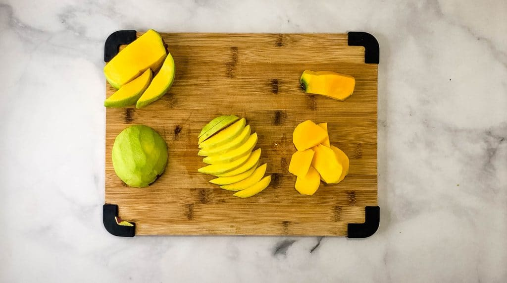 peeled and sliced mango for pickling mango