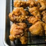 chicken karaage on a cooling rack