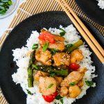 top down teriyaki chicken stir fry on white rice