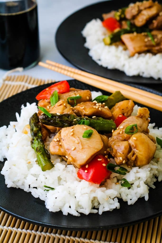 teriyaki chicken stir fry with white rice