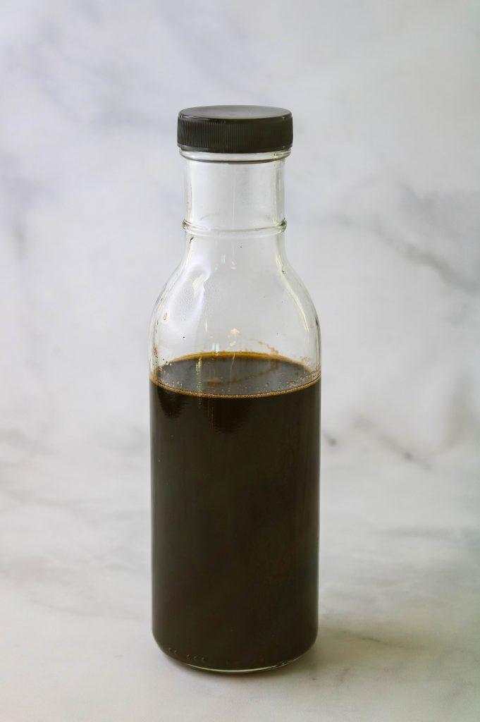 teriyaki sauce in glass bottle