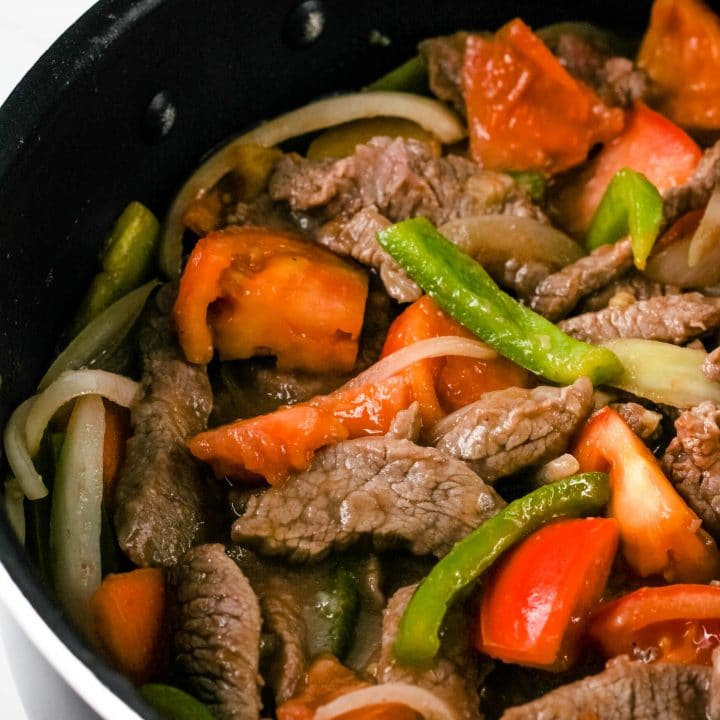 close up of beef tomato in a pan