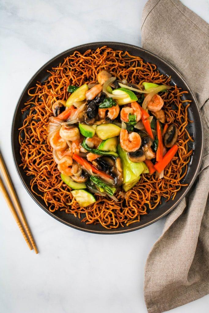 large plate of crispy noodles