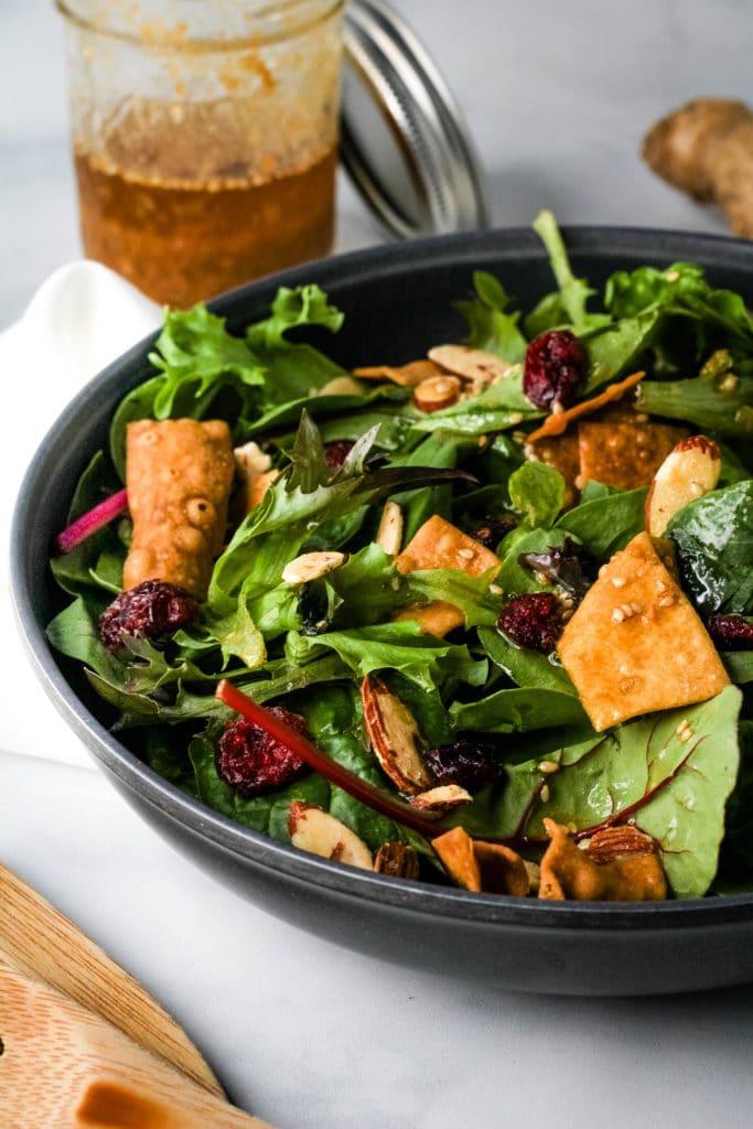 salad dressed with miso vinaigrette