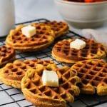 cooling rack of pumpkin mochi waffles