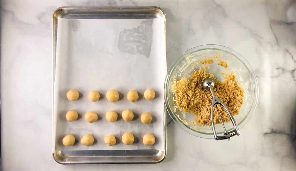 rolling peanut butter balls