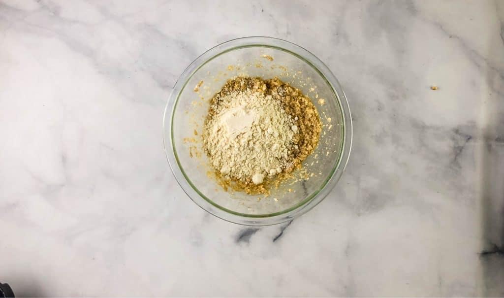 pancake mix cookie bar mix in glass bowl