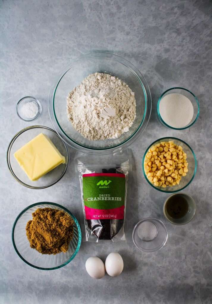 white chocolate craberry cookies ingredients