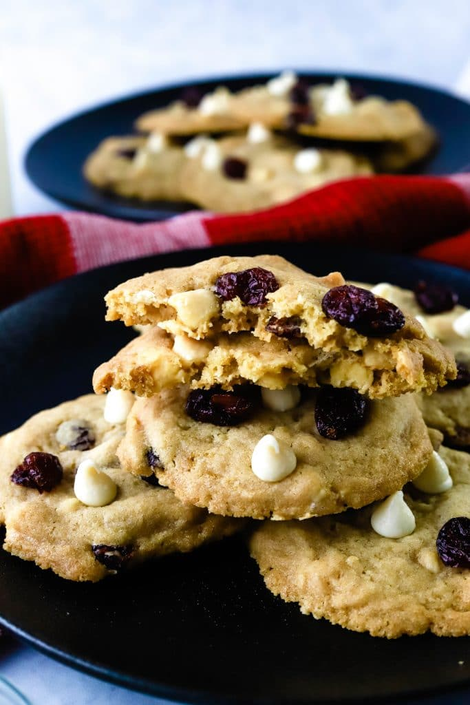 white chocolate craberry cookies on a plate